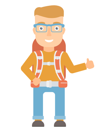 adventurer: Smiling caucasian hiker with backpack giving thumbs up. Happy hiker showing thumbs up gesture. Cheerful hiker with thumb up gesture . Vector flat design illustration isolated on white background. Illustration