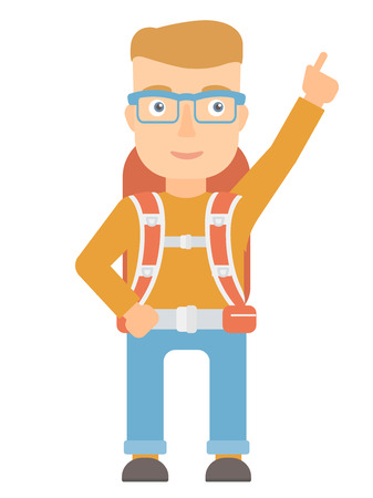 Caucasian tourist pointing with finger to the side. Young smiling tourist with backpack showing up by finger and indicating at something. Vector flat design illustration isolated on white background. Illustration