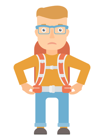 thighs: Disappointed hiking caucasian tourist standing with backpack. Sad caucasian tourist standing with arms on his thighs. Tourist during trip. Vector flat design illustration isolated on white background.