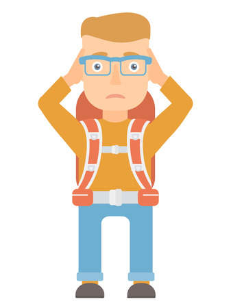 Caucasian stressed travelling man clutching head. Worried travelling man grabs his head. Sad travelling man holding his hands on a head. Vector flat design illustration isolated on white background.