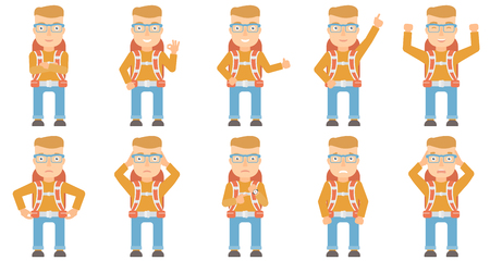 Caucasian backpacker with backpack standing with raised hands. Excited backpacker celebrating success. Backpacker during trip. Set of vector flat design illustrations isolated on white background.