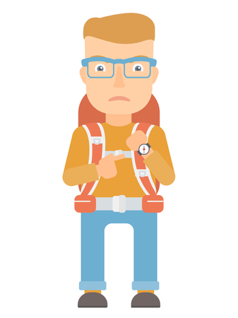 An angry caucasian backpacker pointing at wrist watch. Annoyed backpacker pointing at watches and time. Anxious backpacker checking time. Vector flat design illustration isolated on white background.