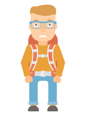 Caucasian tourist feeling embarrassment. Embarrassed young tourist with backpack. Young tourist expressing embarrassment. Vector flat design illustration isolated on white background.