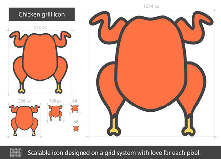 Chicken grill vector line icon isolated on white background. Chicken grill line icon for infographic, website or app. Scalable icon designed on a grid system.