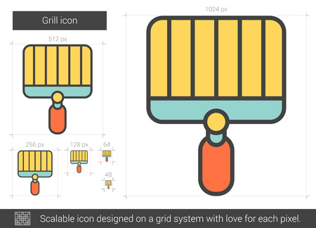 Grill vector line icon isolated on white background. Grill line icon for infographic, website or app. Scalable icon designed on a grid system.
