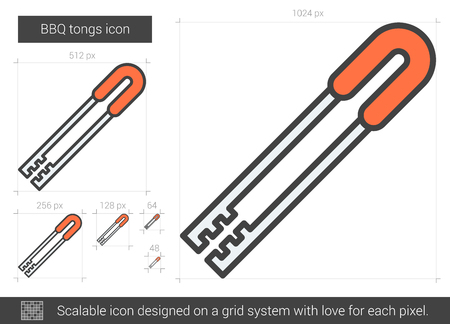 tongs: BBQ tongs vector line icon isolated on white background. BBQ tongs line icon for infographic, website or app. Scalable icon designed on a grid system. Illustration