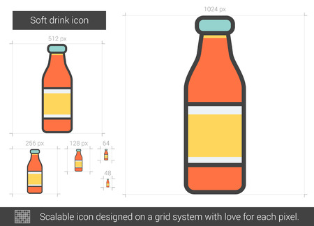 Soft drink vector line icon isolated on white background. Soft drink line icon for infographic, website or app. Scalable icon designed on a grid system.