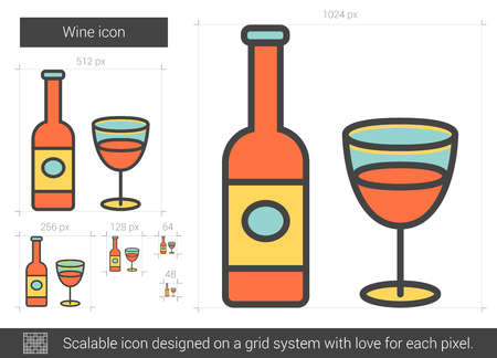 brandy: Wine vector line icon isolated on white background. Wine line icon for infographic, website or app. Scalable icon designed on a grid system. Illustration