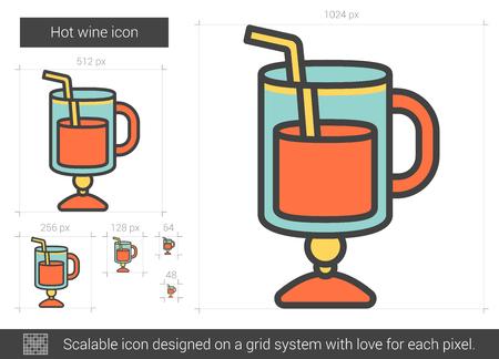 vin chaud: Hot icône de ligne de vecteur de vin isolé sur fond blanc. Hot icône de la ligne de vin pour infographie, site Web ou application. icon Scalable conçu sur un système de grille.