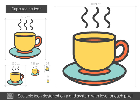 Cappuccino vector line icon isolated on white background. Cappuccino line icon for infographic, website or app. Scalable icon designed on a grid system.