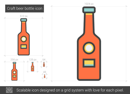 Craft beer bottle vector line icon isolated on white background. Craft beer bottle line icon for infographic, website or app. Scalable icon designed on a grid system. 版權商用圖片 - 67784708