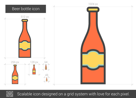 brandy: Beer bottle vector line icon isolated on white background. Beer bottle line icon for infographic, website or app. Scalable icon designed on a grid system.