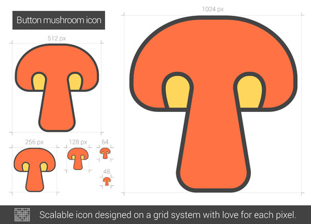 Button mushroom vector line icon isolated on white background. Button mushroom line icon for infographic, website or app. Scalable icon designed on a grid system. Illustration
