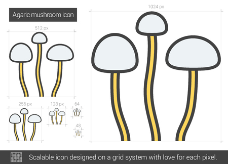 Agaric mushroom vector line icon isolated on white background. Agaric mushroom line icon for infographic, website or app. Scalable icon designed on a grid system. Illustration