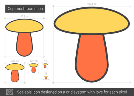 champignon: Cep mushroom vector line icon isolated on white background. Cep mushroom line icon for infographic, website or app. Scalable icon designed on a grid system. Illustration