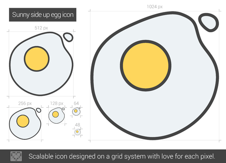 sunny side up eggs: Sunny side up eggs vector line icon isolated on white background. Sunny side up eggs line icon for infographic, website or app. Scalable icon designed on a grid system.