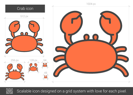 crawfish: Crab vector line icon isolated on white background. Crab line icon for infographic, website or app. Scalable icon designed on a grid system. Illustration
