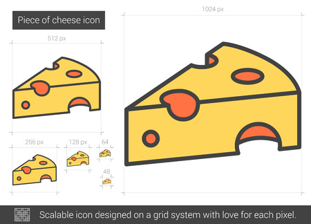 Piece of cheese vector line icon isolated on white background. Piece of cheese line icon for infographic, website or app. Scalable icon designed on a grid system.