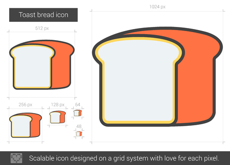 Toast bread vector line icon isolated on white background. Toast bread line icon for infographic, website or app. Scalable icon designed on a grid system. Illustration
