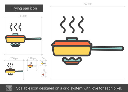 Frying pan vector line icon isolated on white background. Frying pan line icon for infographic, website or app. Scalable icon designed on a grid system.