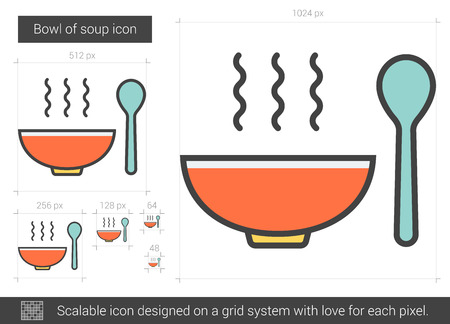 broth: Bowl of soup vector line icon isolated on white background. Bowl of soup line icon for infographic, website or app. Scalable icon designed on a grid system.
