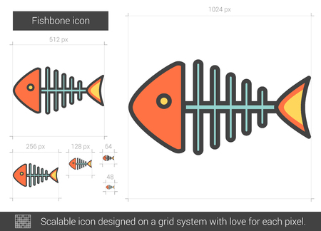 Fishbone vector line icon isolated on white background. Fishbone line icon for infographic, website or app. Scalable icon designed on a grid system. Illustration