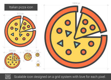 Italian Pizza Vector Line Icon Isolated On White Background