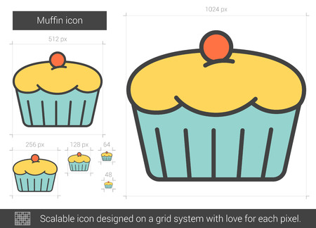 Muffin vector line icon isolated on white background. Muffin line icon for infographic, website or app. Scalable icon designed on a grid system.