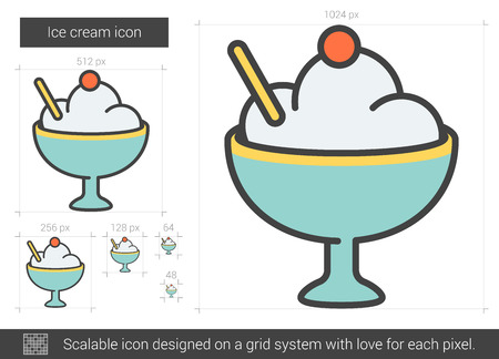 Ice cream vector line icon isolated on white background. Ice cream line icon for infographic, website or app. Scalable icon designed on a grid system.