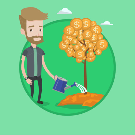 Hipster businessman watering financial tree. Businessman investing in future financial safety. Businessman taking care of finances. Vector flat design illustration in the circle isolated on background Illustration