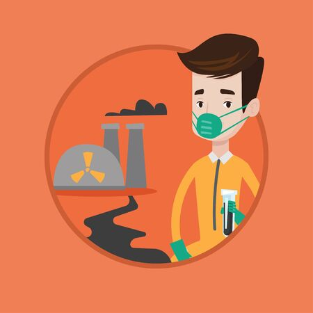 Man in radiation protective suit standing on background of nuclear power plant. Man in radiation protective suit holding test-tube. Vector flat design illustration in the circle isolated on background