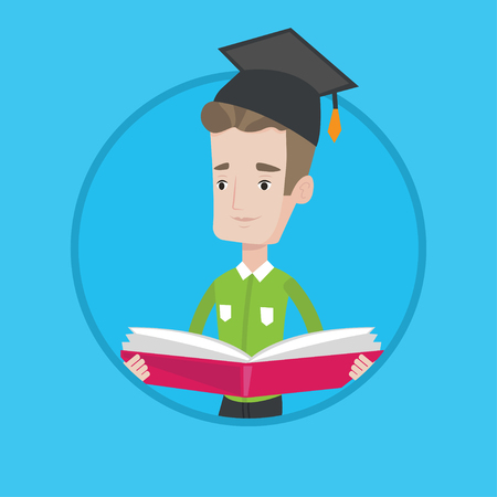 man holding book: Happy graduate standing with a big open book in hands. Smiling male student in graduation cap reading a book. Man holding a book. Vector flat design illustration in the circle isolated on background.