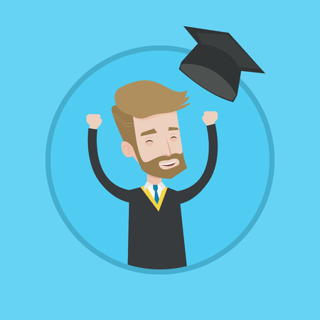Excited graduate in cloak and graduation hat. A hipster graduate with the beard throwing up his hat. Cheerful graduate celebrating. Vector flat design illustration in the circle isolated on background