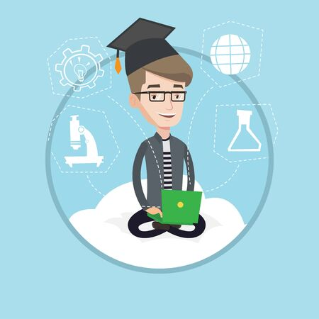 Caucasian graduate sitting on cloud with laptop. Student in graduation cap working on laptop. Concept of educational technology. Vector flat design illustration in the circle isolated on background.