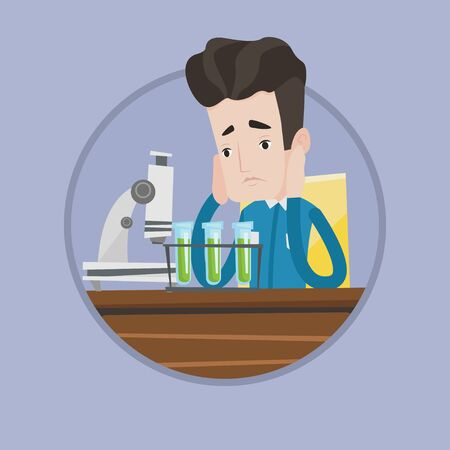 Caucasian student carrying out laboratory experiment. Student working in laboratory class. Student failed laboratory experiment. Vector flat design illustration in the circle isolated on background. Иллюстрация