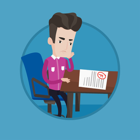 dissatisfied: Caucasian sad student looking at test paper with bad grade. Student dissatisfied with the test results. Student failed test. Vector flat design illustration in the circle isolated on background.