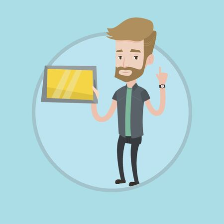 Student using a tablet computer. Hipster student holding tablet computer and pointing finger up. Concept of educational technology. Vector flat design illustration in the circle isolated on background