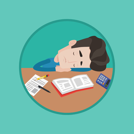 weariness: Fatigued student sleeping at the desk with books. Tired student sleeping after learning. Man sleeping among books at the table. Vector flat design illustration in the circle isolated on background. Illustration