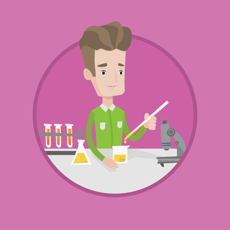 science class: Student carrying out experiment. Student working with test tubes in laboratory class. Student experimenting in laboratory class. Vector flat design illustration in the circle isolated on background. Illustration