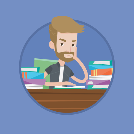 Bored student studying with textbooks. Caucasians student studying hard before the exam. Hipster student studying in the library. Vector flat design illustration in the circle isolated on background. Stok Fotoğraf - 67915325