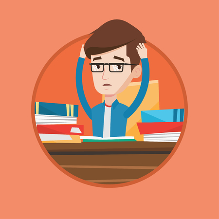 overwhelmed: Stressed student studying with textbooks. Caucasian student studying hard before exam. Desperate student studying in the library. Vector flat design illustration in the circle isolated on background.