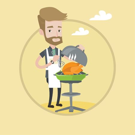 caucasians: Hipster man cooking chicken on barbecue grill outdoors. Young man having a barbecue party. Man preparing chicken on barbecue grill. Vector flat design illustration in the circle isolated on background Illustration
