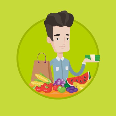 Shopper standing at the table with grocery purchases. Shopper holding money in hand in front of table with grocery purchases. Vector flat design illustration in the circle isolated on background.