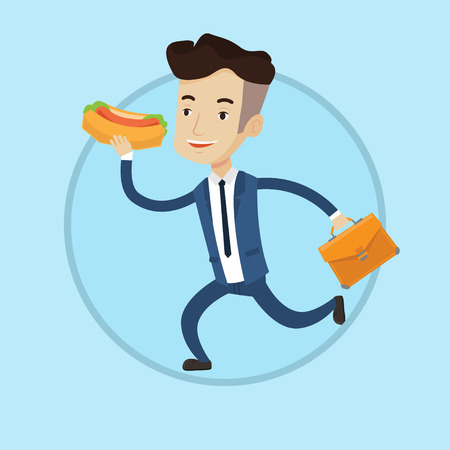 Businessman in hurry eating hot dog. Businessman with briefcase eating hot dog on the run. Businessman running with hot dog. Vector flat design illustration in the circle isolated on background.