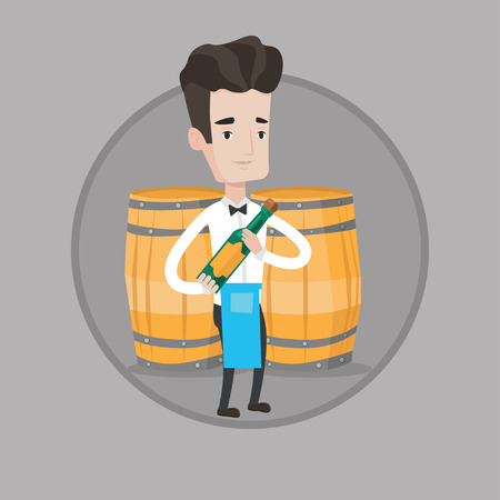 Young waiter holding a bottle of alcohol. Caucasian waiter with bottle of wine in hands standing on the background of wine barrels. Vector flat design illustration in the circle isolated on background