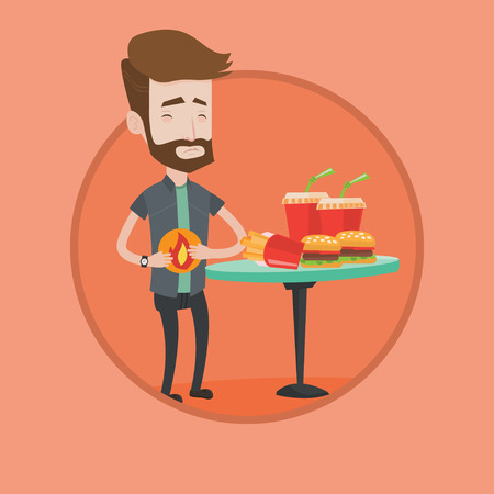 burn out: Hipster man suffering from heartburn. Caucasian man having stomach ache from heartburn. Man having stomach ache after fast food. Vector flat design illustration in the circle isolated on background.