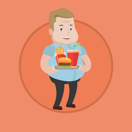 lunch tray: Caucasian fat man holding tray with fast food. Plump smiling man having lunch in a fast food restaurant. Happy man with fast food. Vector flat design illustration in the circle isolated on background.