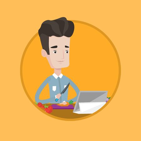 Young man cutting vegetables for salad. Man following recipe for salad on digital tablet. Man cooking healthy vegetable salad. Vector flat design illustration in the circle isolated on background. Ilustracja