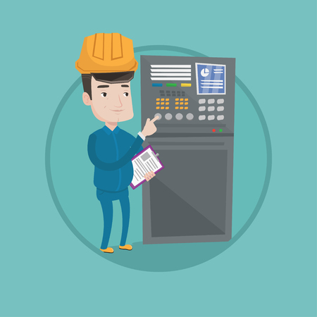 Man working on control panel. Worker in hard hat pressing button at control panel. Engineer standing in front of the control panel. Vector flat design illustration in the circle isolated on background