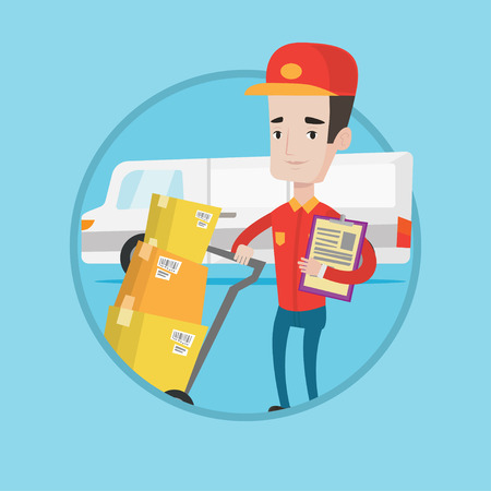 troley: Caucasian delivery man with cardboard boxes on troley. Delivery man with clipboard. Courier standing in front of delivery van. Vector flat design illustration in the circle isolated on background